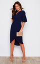 Chelsea Half Sleeve Wrap Detailing Midi Dress Navy by Girl In Mind