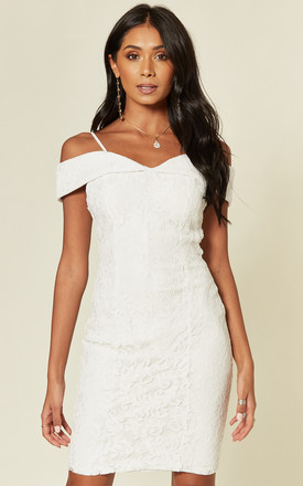 White Bardot Lace Dress by HOXTON GAL