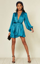 Madison Silky Satin Wrap Dress Teal by SHE BY SOPHIE