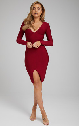The 'Sienna' Burgundy Bandage Dress With Long Sleeves by Made By Issae Product photo