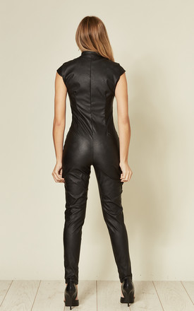 Black sleeveless PU zip up jumpsuit by Off The Railz
