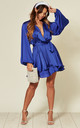 Cobalt blue satin mini wrap dress with belt by SHE BY SOPHIE