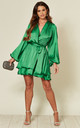 Madison Oversized Sleeve Emerald Green Satin Wrap Dress by SHE BY SOPHIE