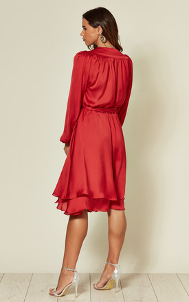 Madison Midi Silky Red Dress with Bell Sleeves by SHE BY SOPHIE
