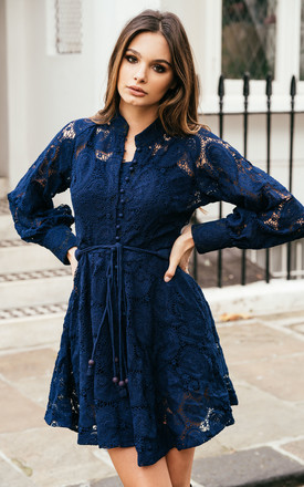 Sienna Long Sleeve Lace Dress in Navy by Anne Louise Boutique