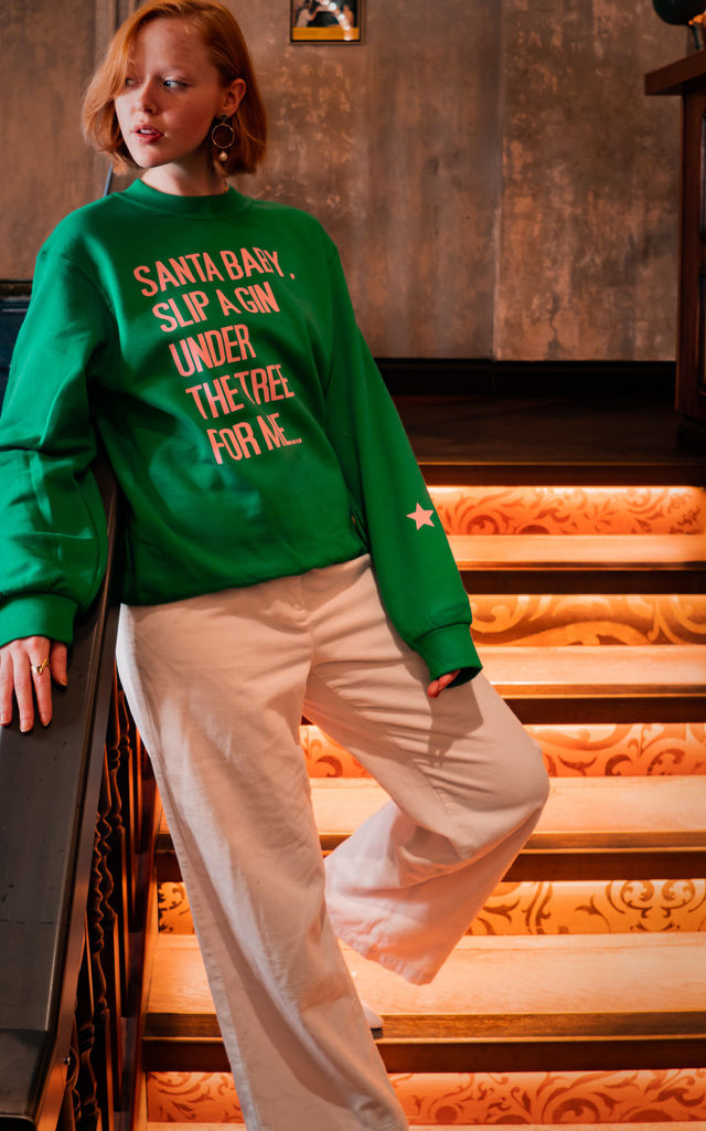 Green Christmas Sweatshirt with SANTA BABY Slogan by Rock On Ruby