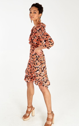RUFFLE FRILL 3/4 SLEEVE WRAP DRESS IN FLORAL PRINT by Blue Vanilla