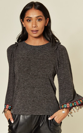 Embroidered Bell Sleeve Tassel Top in Grey by Emily & Me