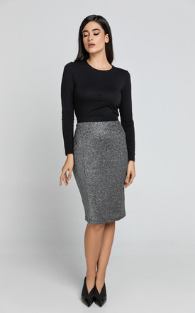 Black Lurex Pencil Skirt by Conquista Fashion