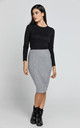 Silver Lurex Pencil Skirt by Conquista Fashion
