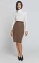 Brown Lurex Pencil Skirt by Conquista Fashion