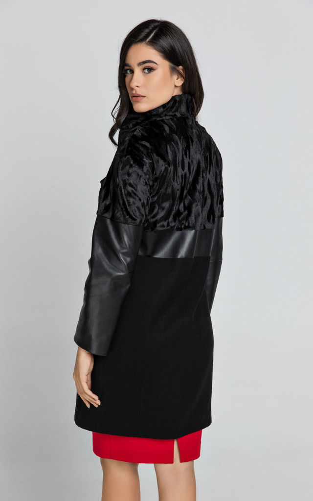 Black Button Up Coat in Mixed Fabrics by Conquista Fashion
