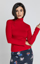 Red Long Sleeve Polo Neck Jumper by Conquista Fashion