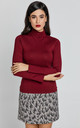 Long Sleeve Polo Neck Jumper in Burgundy by Conquista Fashion