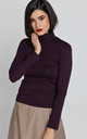 Long Sleeve Polo Neck Jumper in Purple by Conquista Fashion