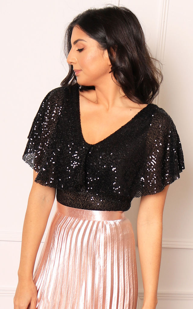 V Neck Frill Sequin Bodysuit in Black by One Nation Clothing