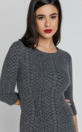 Jacquard Knitted Dress in Dark Grey by Conquista Fashion