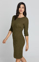 Jacquard Knitted Dress in Khaki by Conquista Fashion