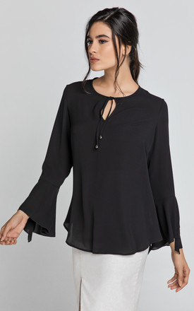 Long Flounce Sleeve Blouse in Black by Conquista Fashion