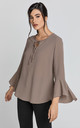 Long Flounce Sleeve Blouse in Iron Brown by Conquista Fashion