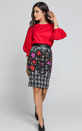 Pencil Skirt in Mixed Print by Conquista Fashion