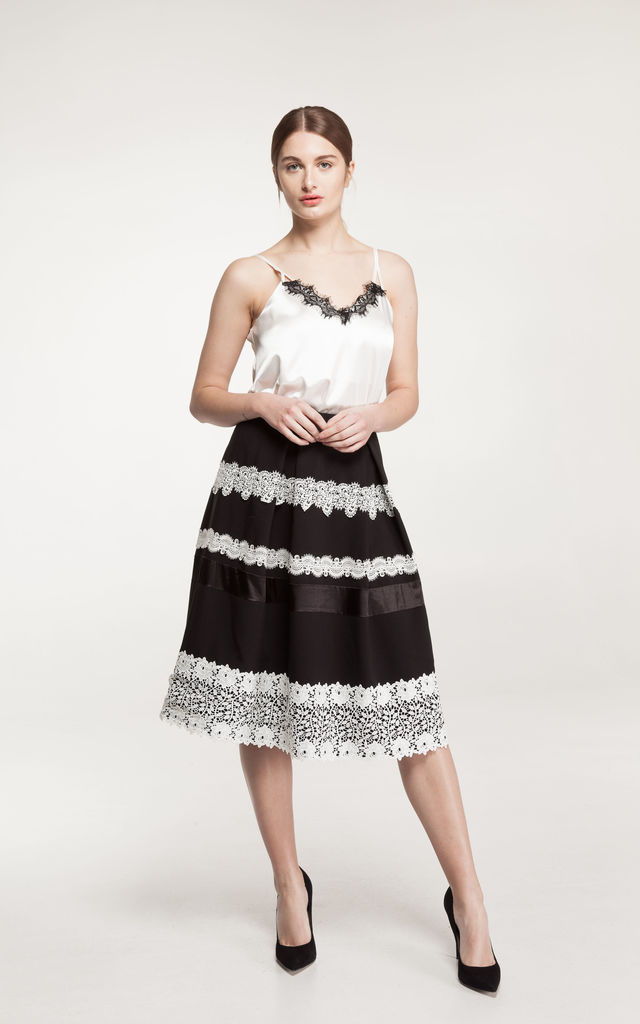 Halina Box Pleat midi Skirt in black and white by Estelle London