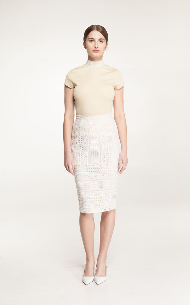 Ammara Lace fitted midi Skirt in cream by Estelle London