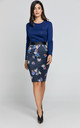 Pencil Skirt in Blue Floral Print by Conquista Fashion