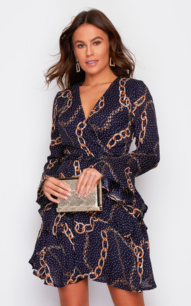 Kim Bell Sleeve Chiffon Mini Dress Navy Chain Print by Girl In Mind Product photo