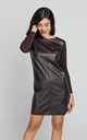 Dark Brown Dress with Faux Leather Front by Conquista Fashion