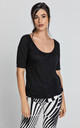 Short Sleeve Top in Black by Conquista Fashion