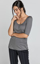 Short Sleeve Dark Grey Top by Conquista Fashion