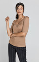 Short Sleeve Light Brown Top by Conquista Fashion