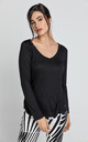 Black V Neck Top with Long Sleeves by Conquista Fashion