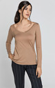 Light Brown V Neck Top by Conquista Fashion