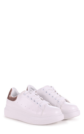 White Platform Trainer With Rose Gold by Linzi