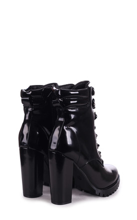 Laina Black Patent Heeled Military Boots by Linzi