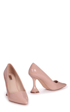 Bombshell Nude Patent Court Shoe With Flared Heel by Linzi