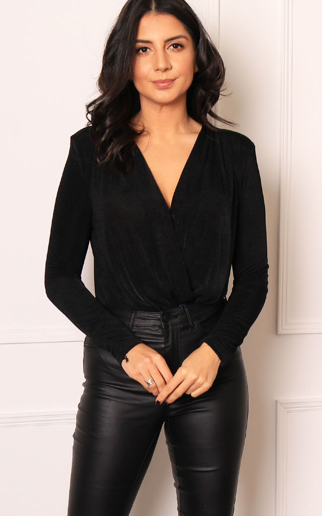 Slinky V Neck Drape Wrap Bodysuit in Black by One Nation Clothing