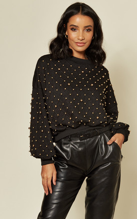 Gold Beaded Black Jumper by Twist and Turn Product photo