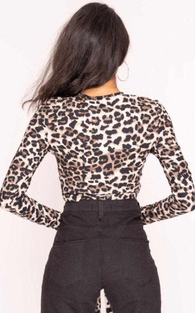 Brown Leopard Print O Ring Crop Top by Hachu