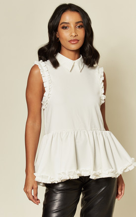 Twist Trim Woven Sleeveless Blouse In White by Twist and Turn Product photo