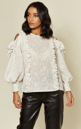 Paisley White Cold Shoulder Top With Ruffle Trims by Twist and Turn Product photo