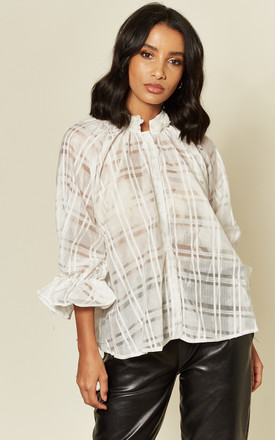 White Tartan Sheer Blouse by Twist and Turn Product photo
