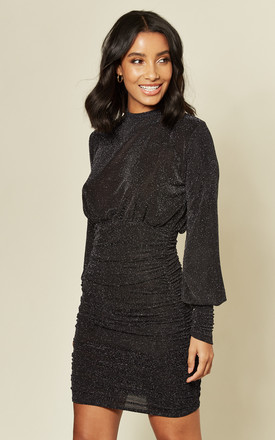 Black Ruched sparkle dress with Low back by EDGE STREET