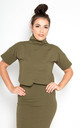 Kafu Oversized Crop Top in Khaki by Manners London