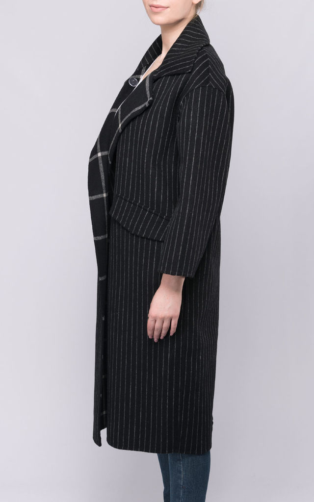 Black Stripe Wool Coat by FS Collection