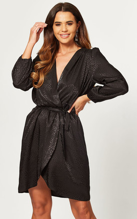 Black Leopard Long Sleeve Jacquard Dress by Love Product photo
