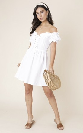 White Bardot Mini Dress With Lace Up Front by Anne Louise Boutique Product photo
