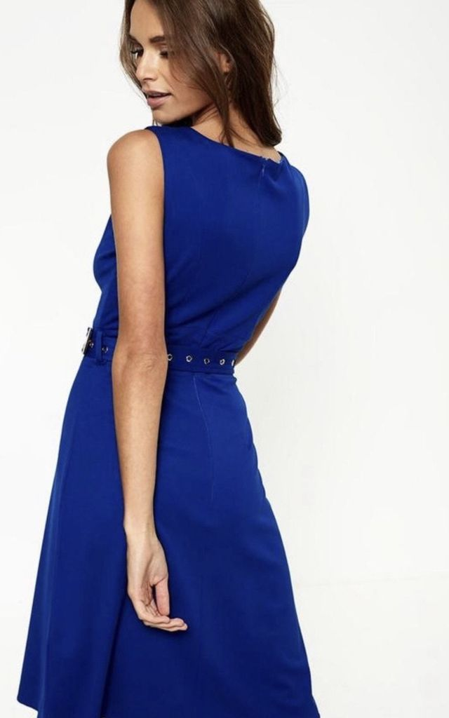 Victoria Sleeveless Midi Dress in Blue by Anne Louise Boutique